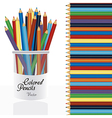 Colored pencil in holder pencil with colored penci vector image
