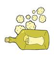 comic cartoon letter in bottle vector image vector image