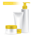 Composition of packaging containers yellow color vector image