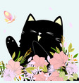 cute kitten kitty cat in the flower garden with vector image vector image