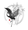 Dancing crane in bamboo vector image