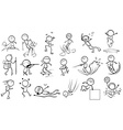 Doodle design of people engaging in different vector image vector image