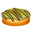 Doughnut with green and chocolate frosting vector image vector image