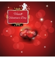 Festive red background with two hearts vector image vector image