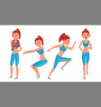fitness girl set various views aerobic vector image