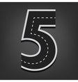 Five number Road font vector image
