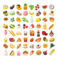 food ingredients and dishes icons vector image vector image