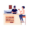 girl drink coffee woman with cup barista making vector image