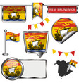 glossy icons with flag of province new brunswick vector image vector image