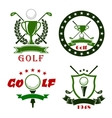 Golf game symbols with sport items vector image vector image