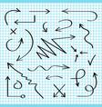 hand drawn arrows set black sketch arrows vector image