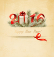 Holiday background with a gift box and 2016 vector image vector image