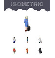 isometric person set of cleaner hostess male and vector image vector image