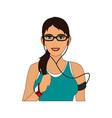 jogging girl cartoon vector image vector image
