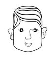 line man head with face and hairstyle vector image vector image