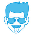 man sunglasses and tongue out vector image