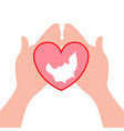 pair of hands holding a heart shape vector image vector image