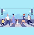 people on crosswalk person traffic pedestrian vector image