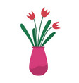 plant with petal and leaf in vase flora vector image