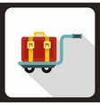 Red suitcase on a cart icon flat style vector image vector image