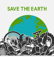 save planet concept littering planet with vector image vector image