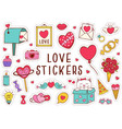 set isolated love stickers part 2 vector image