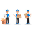 set of smiling delivery man in blue uniform vector image