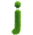 small grass letter j on white background vector image vector image