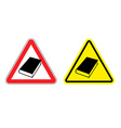 Warning sign formation Danger of Yellow Book vector image vector image