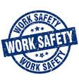 work safety blue round grunge stamp vector image vector image