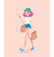 Young hipster girl going down the street with vector image vector image