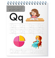 alphabet tracing worksheet with letter q and q vector image vector image