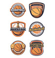 basketball sport game symbols or icons with ball vector image vector image