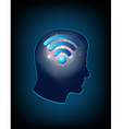 Brain concept with wifi sign vector image vector image