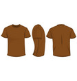 brown t-shirt template in front side and back vector image vector image