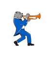 Bulldog Blowing Trumpet Side View Cartoon vector image vector image
