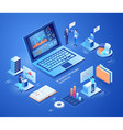 business network database isometric vector image vector image