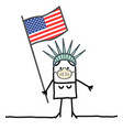 cartoon american symbol woman with flag and mask vector image