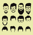 cartoon hairstyles with beards and mustache vector image vector image