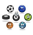 Cartoon sporting balls and puck characters vector image