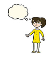 cartoon worried girl with thought bubble vector image vector image