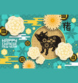 chinese new year pig on blue greeting card vector image