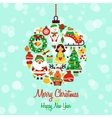 Christmas icons ball shape vector image