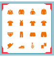 Clothes icons In a frame series vector image