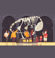 dinosaur skeleton museum composition vector image vector image