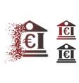 dissolved dot halftone euro bank building icon vector image vector image