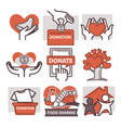 donation and volunteer work icons vector image vector image