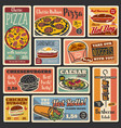 fast food burgers pizza and hot dogs vector image vector image