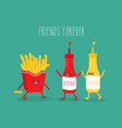 fast food friends vector image vector image