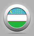 flag of uzbekistan metal gray round button vector image vector image